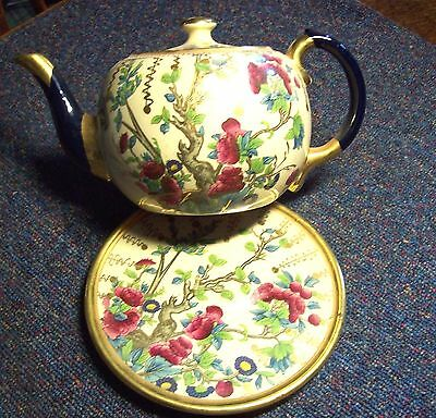 Victorian/terra Cotta/floral Decorated/teapot And Stand/stilt Marks To Base