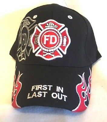 New Black Cap with Embroidered Shadow Maltese Cross Firefighter Design