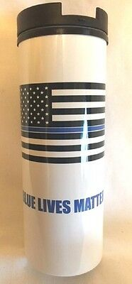 Blue Lives Matter Flag Design 18 ounce Thermal Travel Cup