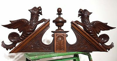 HAND CARVED WOOD PEDIMENT ANTIQUE FRENCH GRIFFIN CHIMERA SALVAGED CREST 19 th