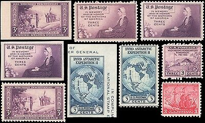 US #735a//755 set MNH 1934-1935 commemorative year set of 9 stamps