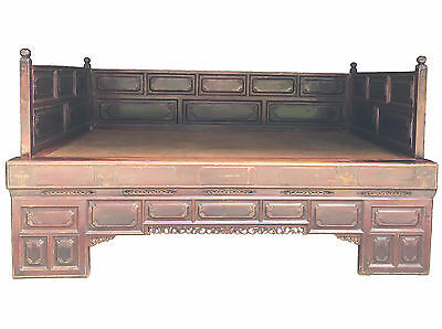 RARE QING Dynasty Chinese Antique 19th Century Asian Large painted Opium Daybed