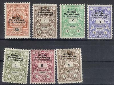 Montenegro Austria Military Government set of revenues MH unwatermarked