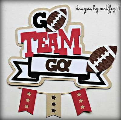 CRAFTECAFE FOOTBALL TITLE  paper piecing premade scrapbook page die cut WOLFFEY5