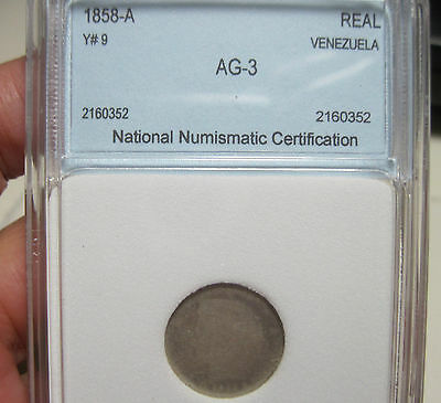 1858-A (VENEZUELA (REAL) SILVER ---VERY VERY RARE----  visible date----