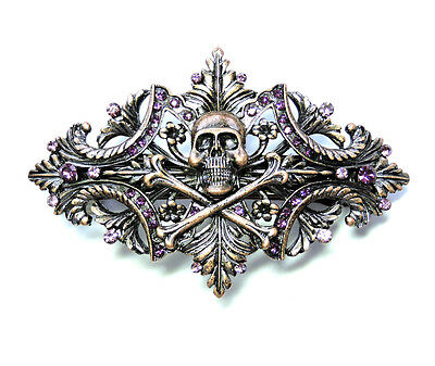 Pirate Crossbones Barrette Skeleton Skull Purple Crystal For Halloween