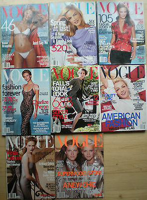 *Vintage VOGUE Magazine Lot of 8 Back Issues 1999 - 2001 fashion reference book*