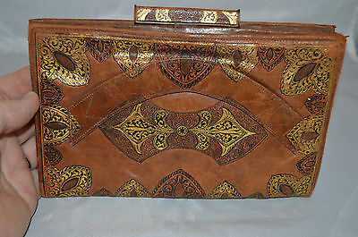 Art Deco Vintage Italian Brown Leather Clutch Purse Embossed w/ Gold and Black