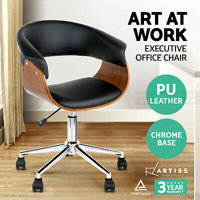 Artiss Executive Wooden Office Chairs Home Leather Computer Work Seat Premium