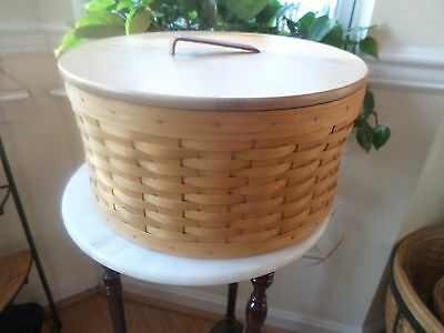 Longaberger Large Hat Box Basket With Wood Lid And Protector