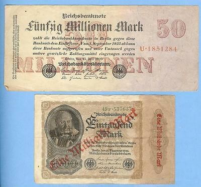 Banknotes Currency from Germany, Inflation Money 1922-1923, Millions/Billions