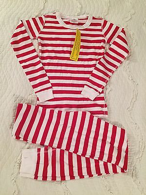 Hanna Andersson Size 140 cm Red White Striped Long Johns Pajamas NWT