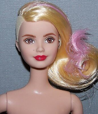 Nude Barbie Doll Fashionista Shorn Side Blonde Pink Hair & Brown Eyes for OOAK