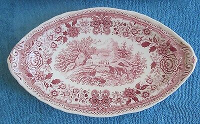 VILLEROY & BOCH Germany BURGENLAND cranberry & white OVAL DISH 23cm BOX