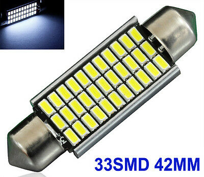 1x Sofitte Soffitte C5W 33 SMD 3014 LED 42MM Weiss CANBUS Innenraum Lampe 12V DC