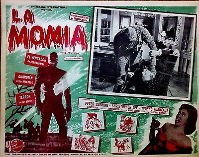 Hammer THE MUMMY Strangles PETER CUSHING 1960's Sci-Fi Horror Mexican LOBBY CARD