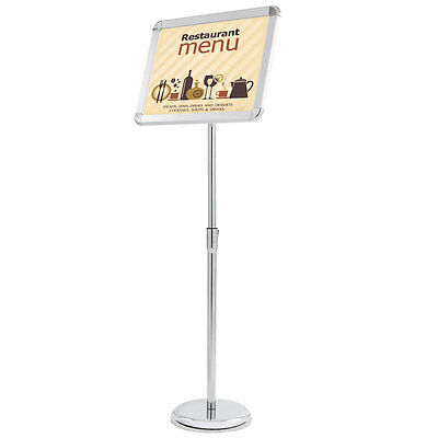 "12x16"" Pedestal Sign Holder Menu Stand Telescopic Station Poster Post Snap Frame"