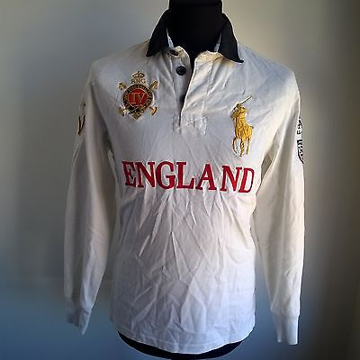 England Custom Fit Polo Shirt Padded L/s Ralph Lauren Jersey Size Adult S