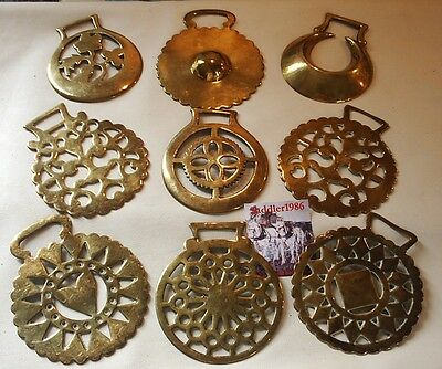 *nine Genuine Antique Horse Brasses ~ All Over 100 Years Old*