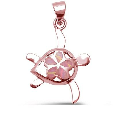 Cute Pink Opal Rose Gold Turtle .925 Sterling Silver Pendant