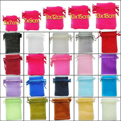 100 / 25 Organza Gift Bags Luxury Wedding Party Favour Jewellery Packing Pouches