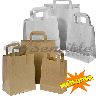 Kraft Paper Sos Party Takeaway Bags With Handles White & Brown *all Sizes/qty's*