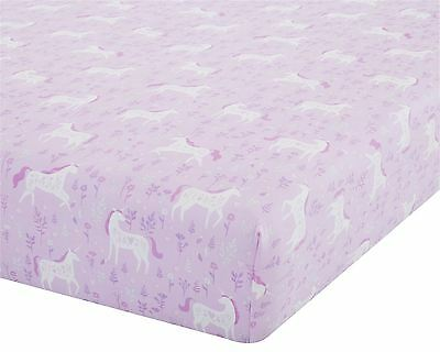 Unicorns Flowers Leaves Pink White Double 135X190+25Cm Cotton Blend Fitted Sheet