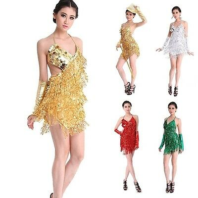 Women Sequin Fringe Dress Rumba Latin Dance Dress Tassel Ballroom Costume Outfit