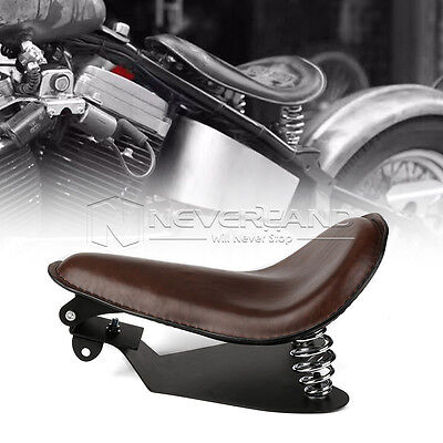 "14.2"" Leather Springs Bracket Solo Seat Base For Harley Fat Bob 48 72 Dyna Brown"
