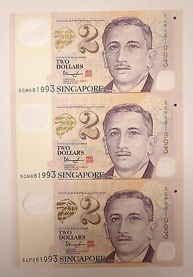 Singapore 3 in 1 uncut sheet $2 Two dollars polymer banknote, 2015 series, UNC