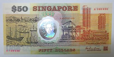 Singapore $50 polymer Commemorative banknote 1990, A prefix with date, UNC note