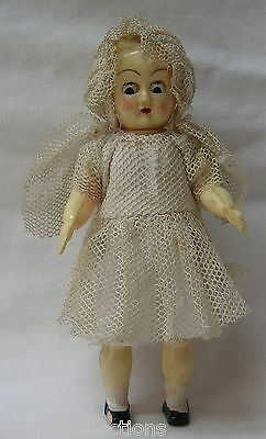 Made in Hong Kong Celluloid Girl Doll Movable Head Eyes Arms Legs 1930's Vintage