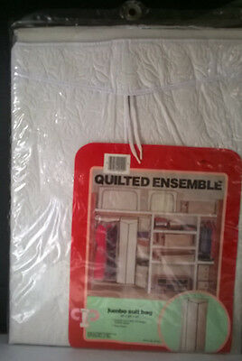 """Vintage Quilted Garment Bag White 42"""" X 20"""" X 15"""" Corr-Pak New In Orig Plastic"""