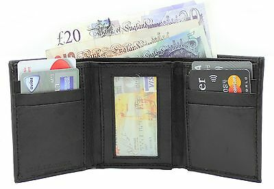 New Mens Luxury Real Leather Compact Wallet Credit Card Holder Black 4055