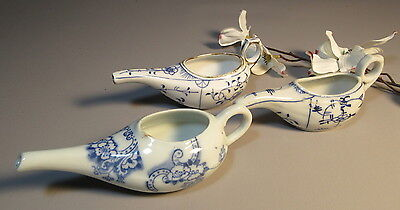 Lot Of 3 c1930 Infant Or Invalid Feeding Cups Feeders Blue & White Porcelain