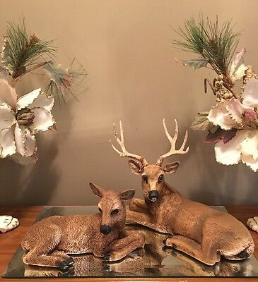 Vtg Homco Deer Statues Set 12Pt Buck 1984 &  Doe 1985 Figurines Home Interior