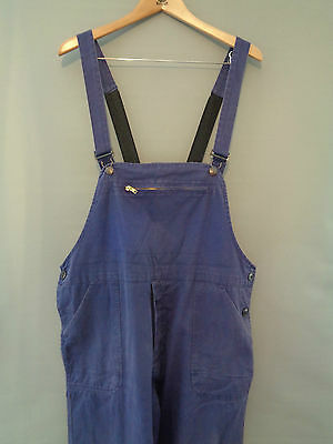 Vtg French indigo blue cotton work trousers bibs overalls dungarees pants