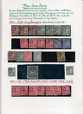Barbados 1912-20 George 5Th Definitives +War Tax Mint/ Used