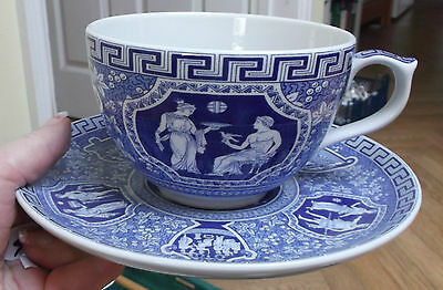 "HUGE Spode - Blue Room Collection - ""Greek"" Grande Jumbo Cup & Saucer Set BOXED"