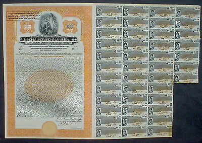 Kingdom of Roumania Monopolies Institute 1000$ Gold Bond 1929 uncanc. + coupons
