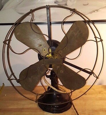 "ANTIQUE 1914 CENTURY Type S3 Model 150 BRASS BLADE & CAGE OSCILLATING FAN 17"" D"