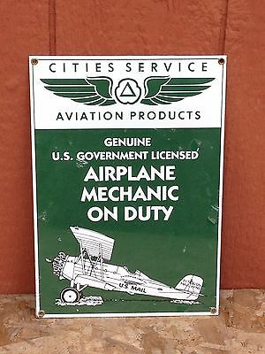 Vintage Cities Service Aviation Gasoline Porcelain Sign Gas Oil US Mail Airplane