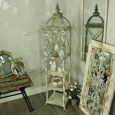 Tall metal candle lantern shelving shabby vintage chic wedding home gift garden