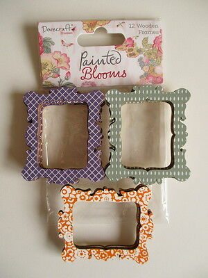 Dovecraft Painted Blooms 12 Wooden Photo Frames -  Green , purple , orange