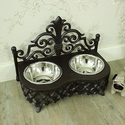Vintage black iron cat dog pet double bowl feeder stand shabby vintage chic home