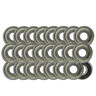 608ZZ Precision Skateboard Bearings 8x22x7mm Double Shielded Silver (Pack of 30)