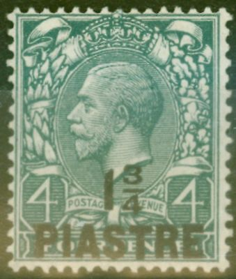 British Levant 1913 1 3/4pi on 4d Dp Grey-Green SG38a Thin Pointed 4 in Fraction