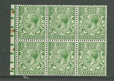 1912 KGV  Royal Cypher NB6 1/2d Booklet pane of 6.Up wmk Cat £85.Unmounted Mint