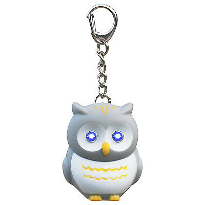 TRIXES Cute Novelty Grey Hooting Light Up Owl Keyring