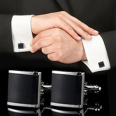 CHIC Black Stainless Steel Mens Wedding Party Gift Shirt Cuff Links Cufflinks